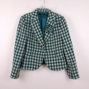 Zara Basic Wool Blend Plaid Tweed Blazer Lined